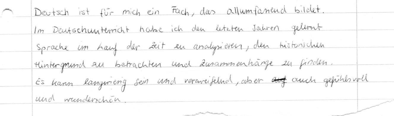 Gedanken einer Schülerin aus dem 4. Semester über den Deutschunterricht - unkorrigiert